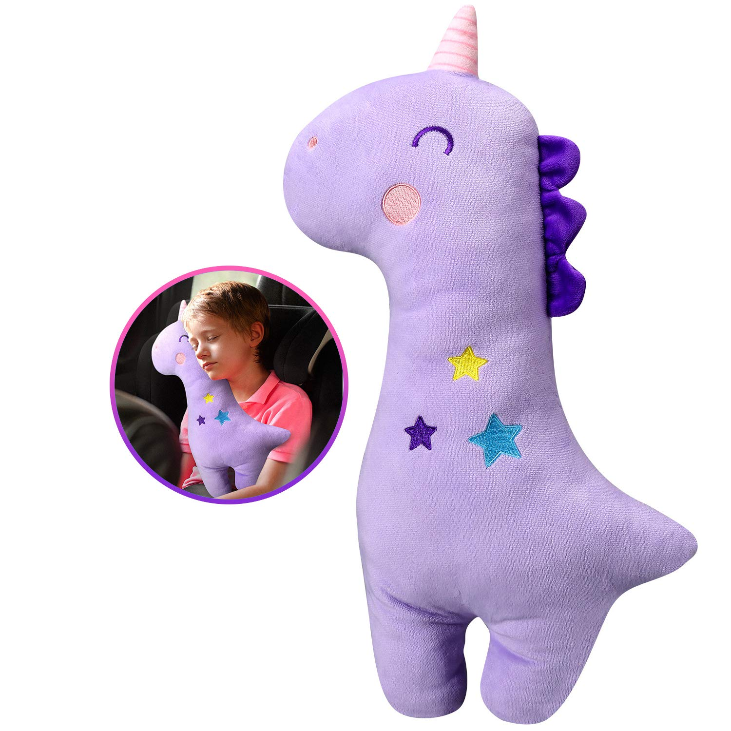 Car Seat Belt Pillow for Kids Dinosaur 2Pcs Unicorn Car Seat Belt Cover Pad Head and Neck Support
