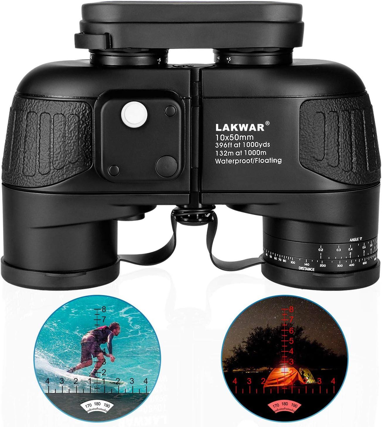Binoculares para Larga Distancia LAKWAR 10X50 Prismáticos Compactos para Adultos con Brújula Y Telémetro Prismáticos De Profesional con Prisma Bak4 Impermeables para Observación De Aves