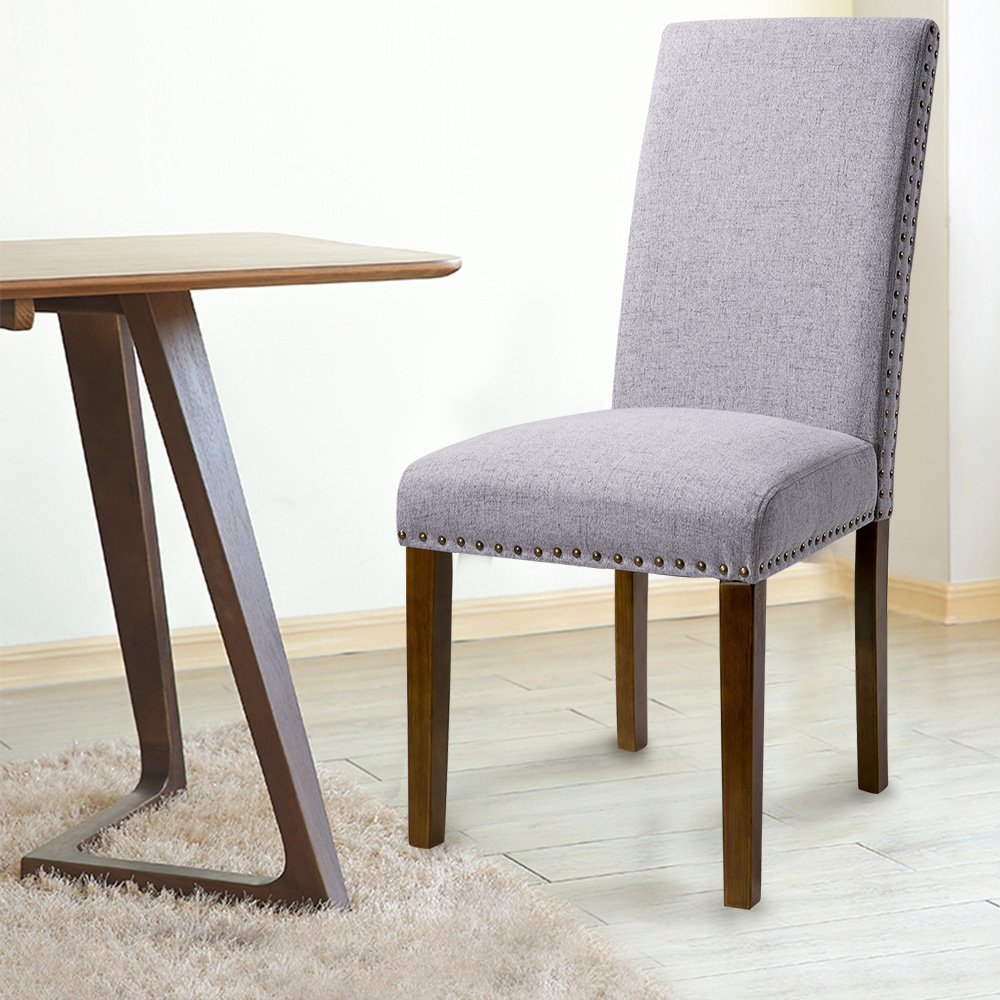 Merax PP036415 Set of 2 Fabric Dining Chairs with Copper Nails and Solid Wood Legs by Merax (Image #5)