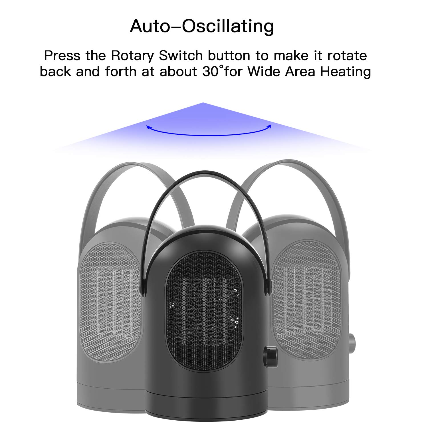 Fan Heater Oscillating Portable Ceramic Electric Heater, Personal Space Heater with Heat & Cool Settings, Adjustable Wind Speed, Overheat & Tip-over Protection for Office and Home Use, 600W, Black