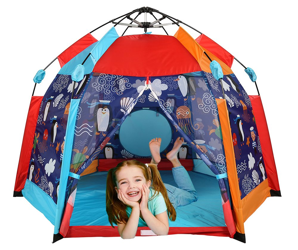 UTEX Automatic Instant 6 Kids Play Tent for Indoor/ Outdoor Fun,Kids Beach Tent Sun Shelter with Zippered Mesh Front, Camping Playhouse Indoor Playground, 66'' x 66'' x 44''(Sea Cabana) by UTEX (Image #4)