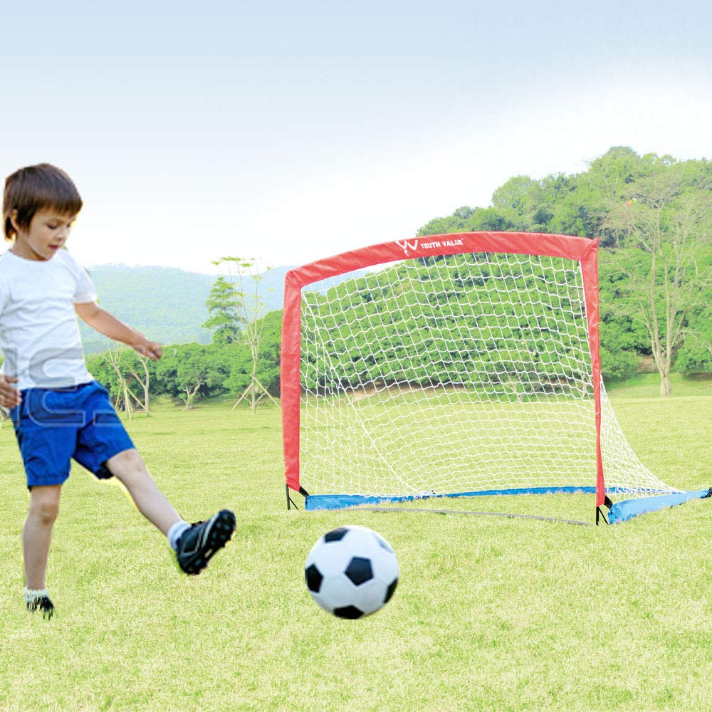 Youth Value Portable Soccer Goals, Instant Set-Up, Easy Fold-Up, 4'x3'x3', Set of 2 Soccer Goal Nets