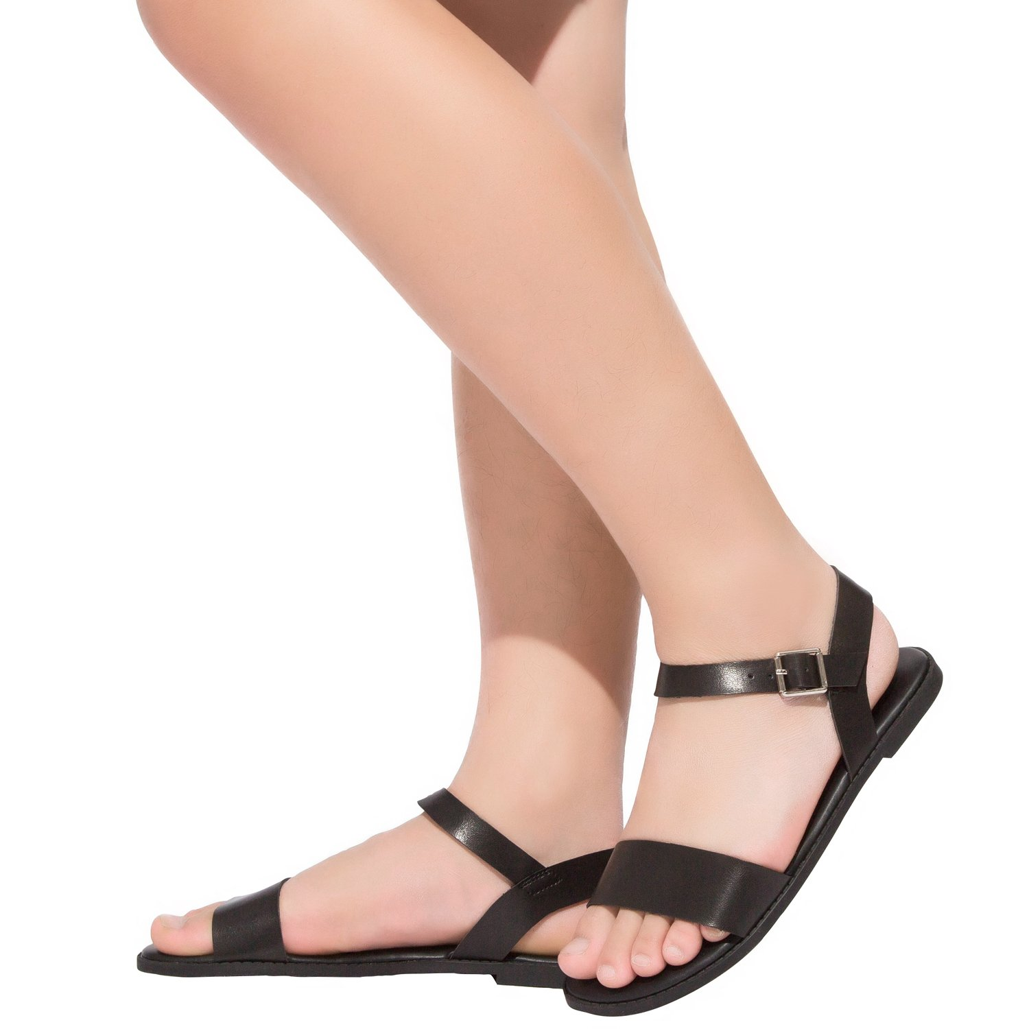 Aukusor Womens Wide Width Flat Sandals one Band Open Toe Ankle Strap Flexible Summer Shoes 180307 Black 8ww