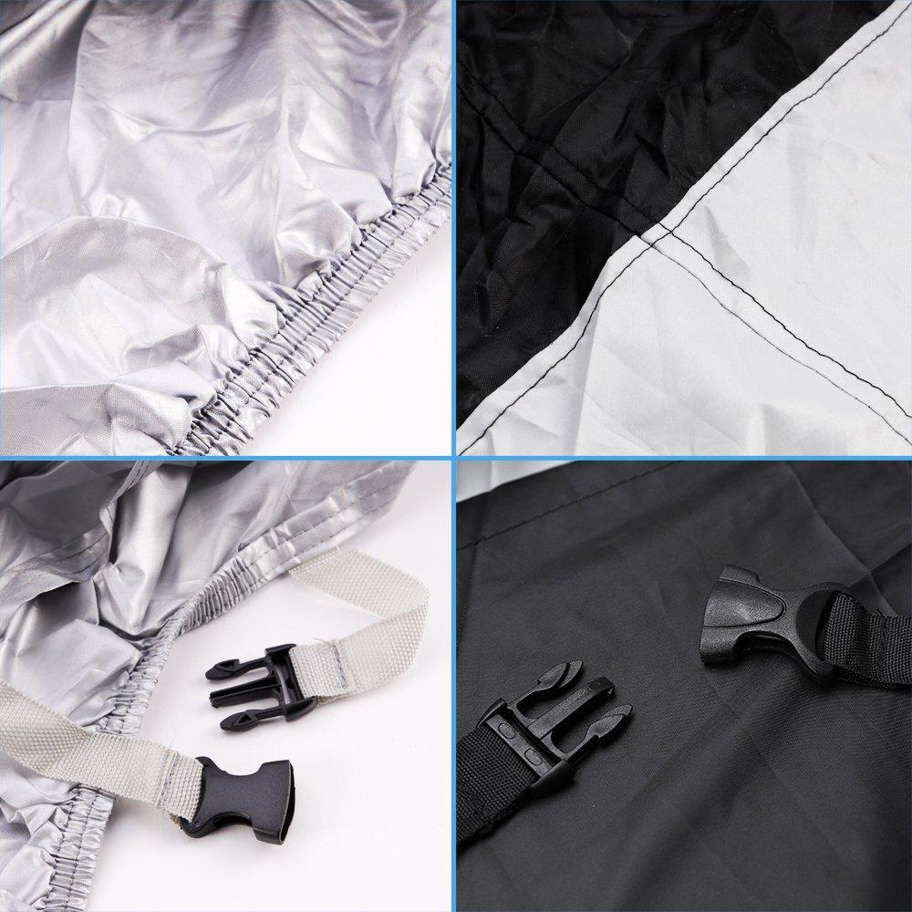 UV-Schutz mit Aufbewahrungstasche atmungsaktiv f/ür drinnen und drau/ßen Gr/ö/ße XL Motorradabdeckung wasserdicht Schwarz//Silber