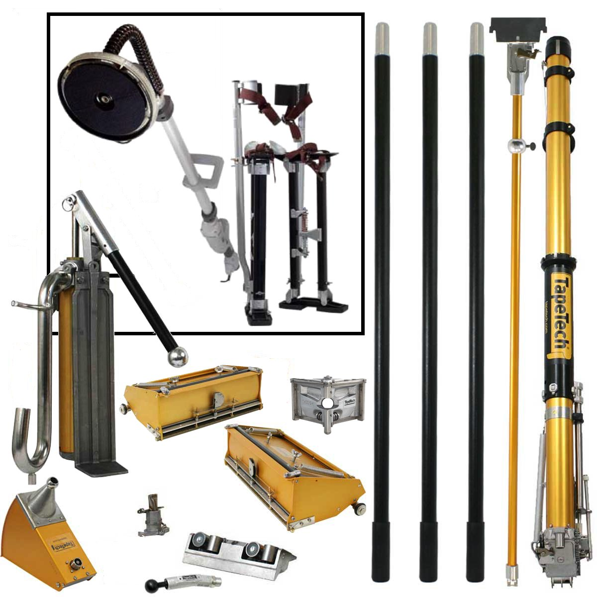 TapeTech Full Drywall Taping and Finishing Tool Set with FREE STILTS and 9'' Disc POWER SANDER by TapeTech