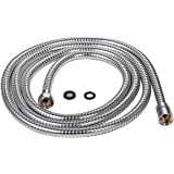 Purelux 100 Inch Extra Long Double Lock Stainless Steel Replacement Shower Hose for Handheld Shower Head with Brass Fittings, Chrome Finish