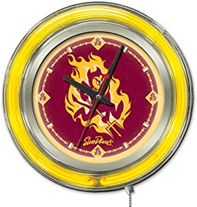 Holland Bar Stool Co. Arizona State Sun Devils HBS Neon Yellow Red Battery Powered Wall Clock (15