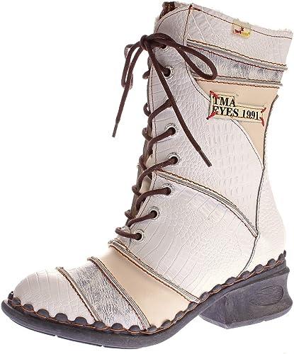 TMA Damen Winter Stiefel Echt Leder Schuhe Gefüttert Comfort Boots 5199 Animal Print Gr. 36 42