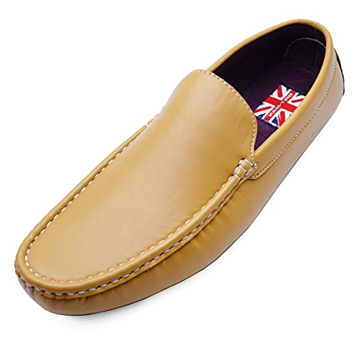 4f07a4a1c69 HeelzSoHigh Mens Yellow Flat Smart Casual Moccasin Loafers Deck Shoes  Driving Pumps Sizes UK 6-11  Amazon.co.uk  Shoes   Bags