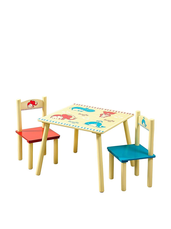Kesper Kinder-Tisch mit 2 Stühlen, Fiberboard-Set, Mehrfarbig