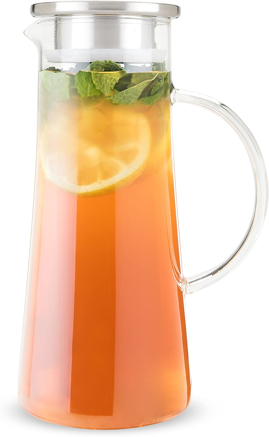 PINKY UP Charlie Glass Carafe Loose Leaf Accessories, Iced Tea Beverage Brewer, 1.5 liter Capacity, Clear