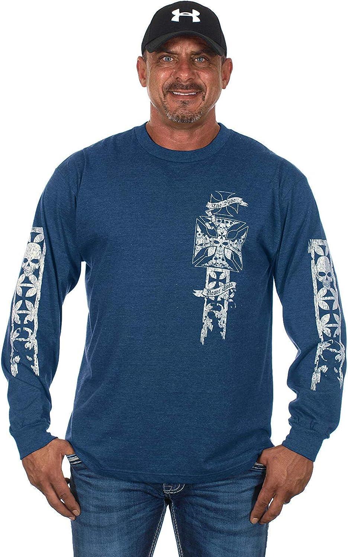 Mens Graphic Print Iron Cross /& Skull Design Long Sleeve Biker T-Shirt