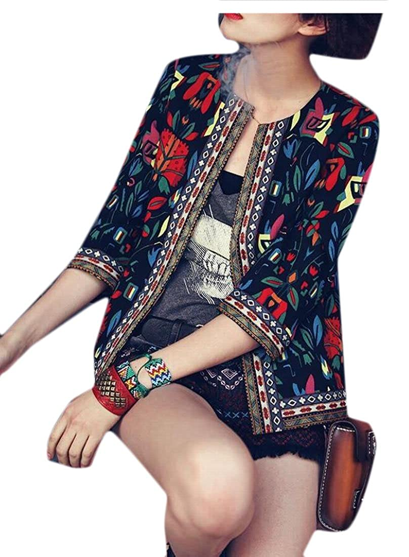 Gocgt Womens Ethnic Print 3//4 Sleeve Embroidered Short Jacket Coat