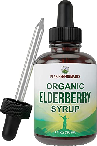 Organic Elderberry Syrup – USA Grown Vegan Black Elderberry Sambucus Extract Liquid Drops by Peak Performance. Immune Support Supplement. Natural Flavors No Alcohol or Artificial Sweeteners. Tincture