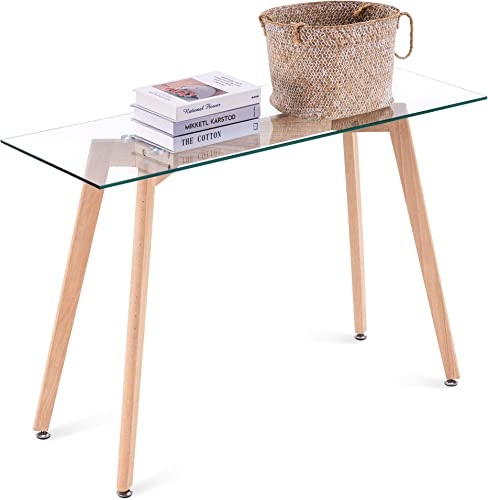 ivinta Narrow Glass Desk Modern Glass Console Table Glass Writing Desk Small Dining Table Small Computer Desk Entryway Table Narrow Desk Small Desks Glass Top Desk