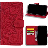 EUDTH Huawei Y9 (2019) Case, [3D Emboss Flower Pattern] Magnetic Flip Cover [ Card Slots & Stand ] Leather Wallet Case for Huawei Y9 (2019) - Red