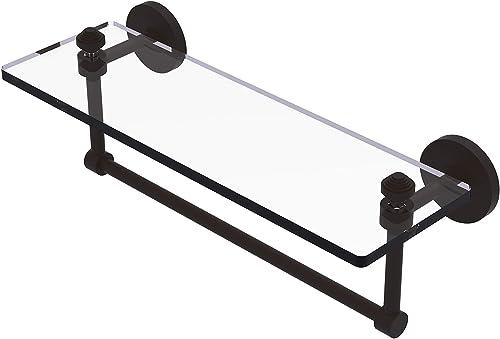 Allied Brass SB-1TB 16-ORB Glass Shelf with Towel Bar, 16-Inch x 5-Inch