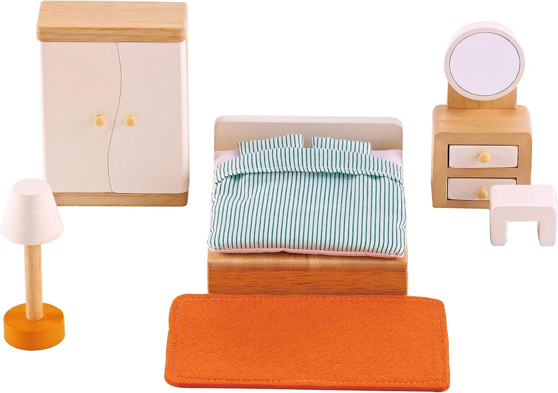 Hape Wooden Doll House Furniture Master Bedroom Set