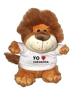 León de peluche (Fetzy) con Amo Zaragoza en la camiseta (ciudad / asentamiento