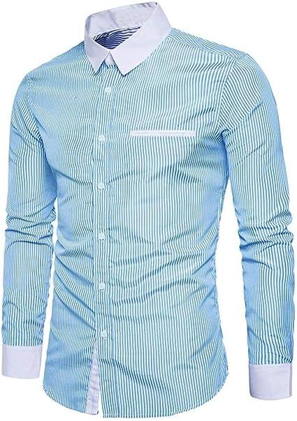 Camisas De Manga Larga para Hombres Negocios De De Camisa Joven para Hombres Camisa Polo Moderna Camisa De Ocio Camisa Casual con Cuello Alto Camisa con Botones Blusa De Botones Classic: Amazon.es: