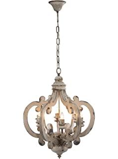 Kunmai retro rustic french country carved wood distressed candle wood metal chandelier 1925 x 25 beautiful antique chandelier vintage chandelier hanging chandelier aloadofball Images