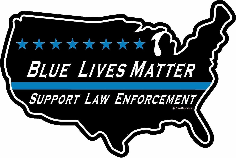 "ProSticker 1124V (One) Patriot Series Blue Lives Matter, Support Law Enforcement Thin Blue Line Decal Sticker (4"" x 6"")"