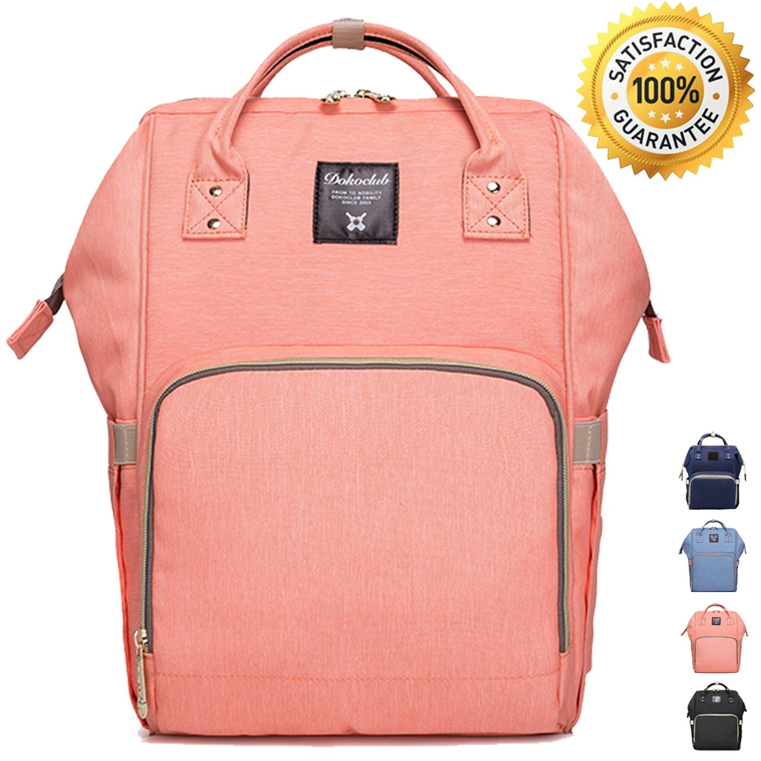 [New Arrival] Diaper Bag Backpack by Lmeison, Fashion and Function in One Bag, Multi-Function Waterproof Travel Backpack Nappy Bags for Baby Care, Large Capacity, Stylish and Durable (Pink)