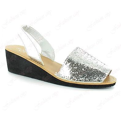 e68dd0a54d5 New Nova Ella Sandal Slingback Comfort Wedge Heel Sparkly Glitter Shoes  Size 3-8 (UK   7