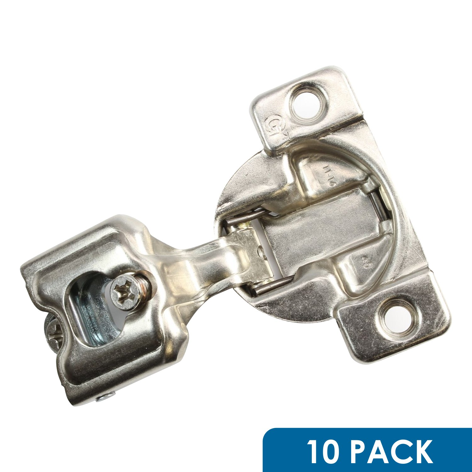 10 Pack Rok Hardware Grass TEC 864 108 Degree 1'' Overlay 3 Level Self Close Screw On Compact Cabinet Hinge 04401-15 3-Way Adjustment 45mm Boring Pattern