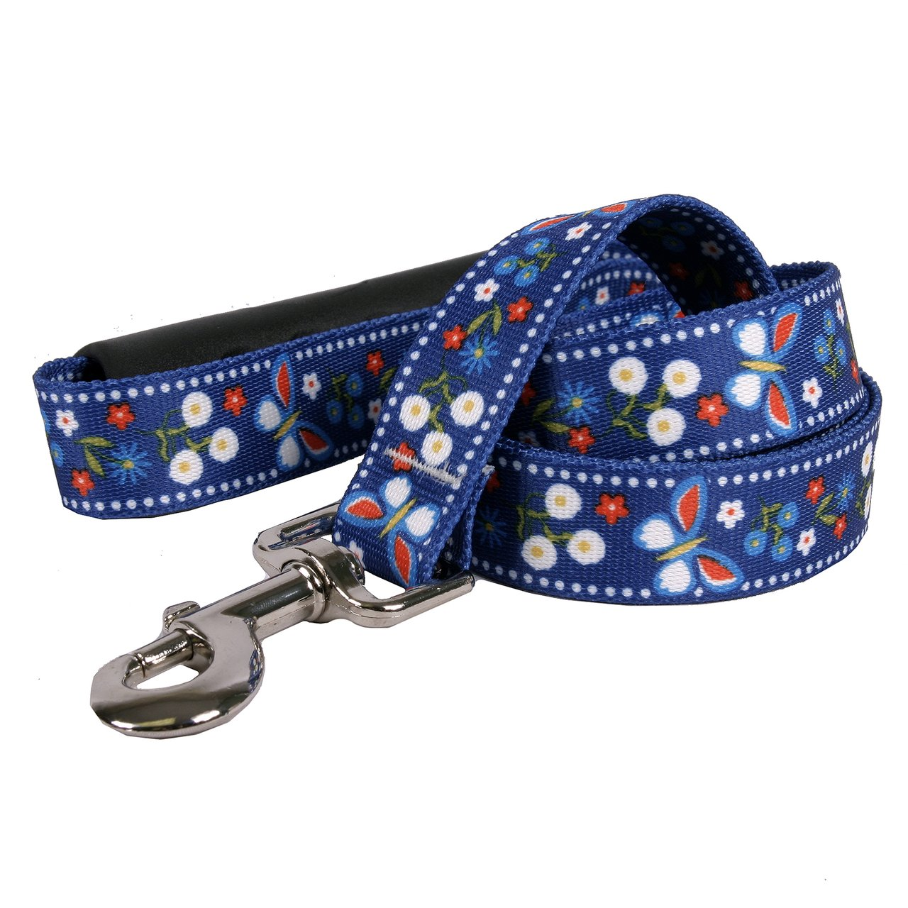 Yellow Dog Design Festive Butterfly Blue EZ-Grip Dog Leash with Comfort Handle 1'' Wide and 5' (60''), Large