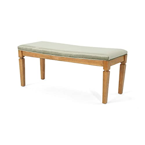 Christopher Knight Home Hart Velvet Bench, Pistachio and Walnut