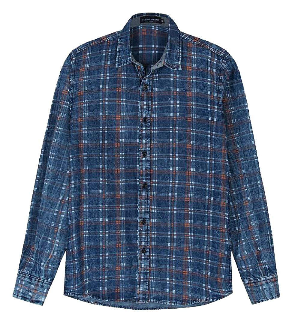 HTOOHTOOH Mens Plaid Cotton Shirt Printed Shirt Long Sleeve Button Down Shirts