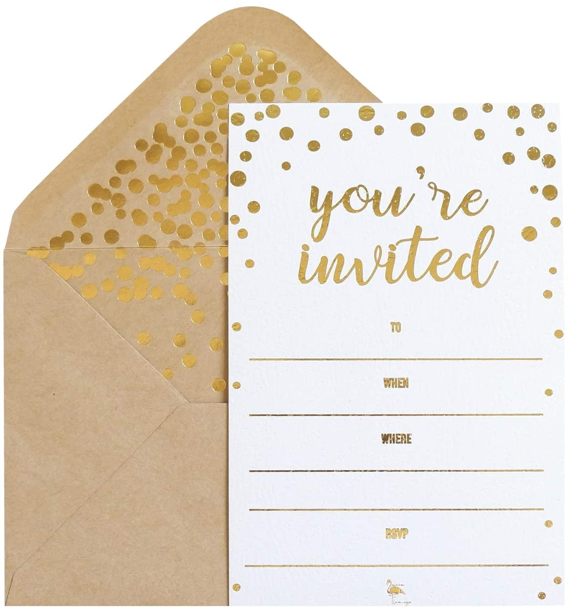 Amazon.com: 50 Pack Invitation Card - Elegant Greeting Cards ''You are  Invited'' in Gold Foil Letters – for Wedding, Bridal Shower, Baby Shower, Birthday  Invitations - 52 Kraft Envelopes Included - 4