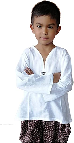 PJ Shirt Kid Yoga 100% Cotton White Long Sleeve Color for Holiday, Beach, Hippie