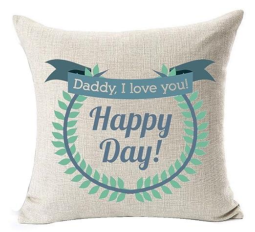 Día del padre I Love You Feliz Día Funda para cojín de lino ...
