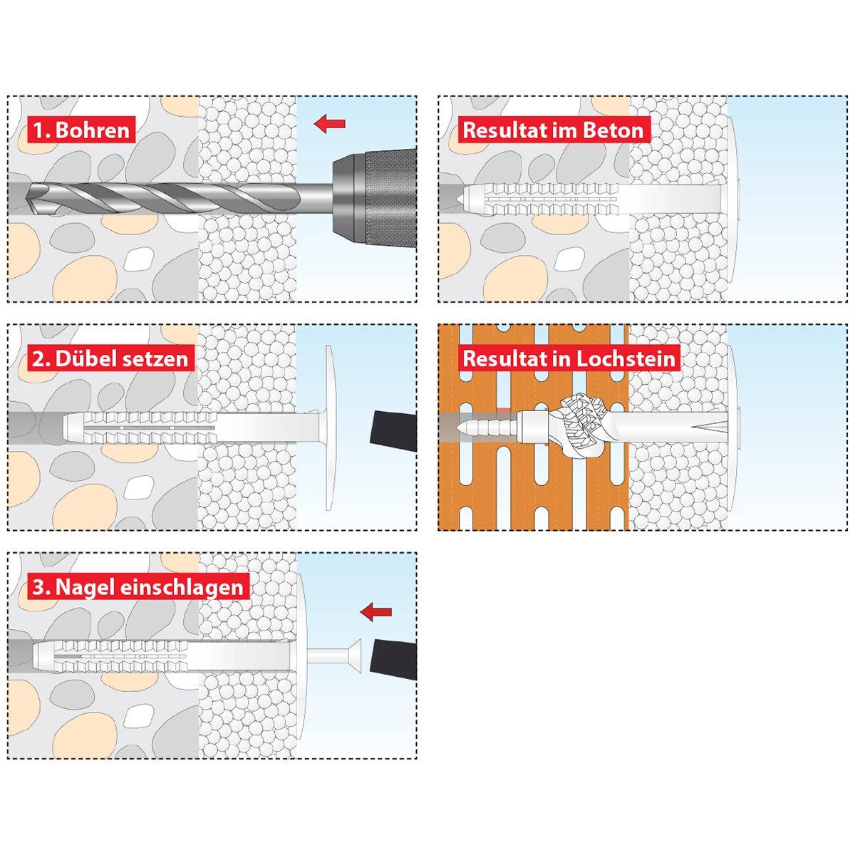 02210245 TOX D/ämmstoffd/übel Husky 8 x 120 mm 50 St/ück D/übel mit 50 N/ägel 5,0 x 125