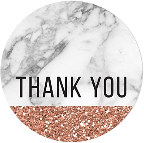 Birthday Party Stickers Thank You Seals Boy Gold 35 Personalised Marble Girl
