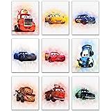 汽车总动员电影海报印刷品 - 一套九张 (8x10) 水彩照片 - 闪电麦昆 唐·梅特博士哈德森·杰克逊·克逊 Cruz Ramirez