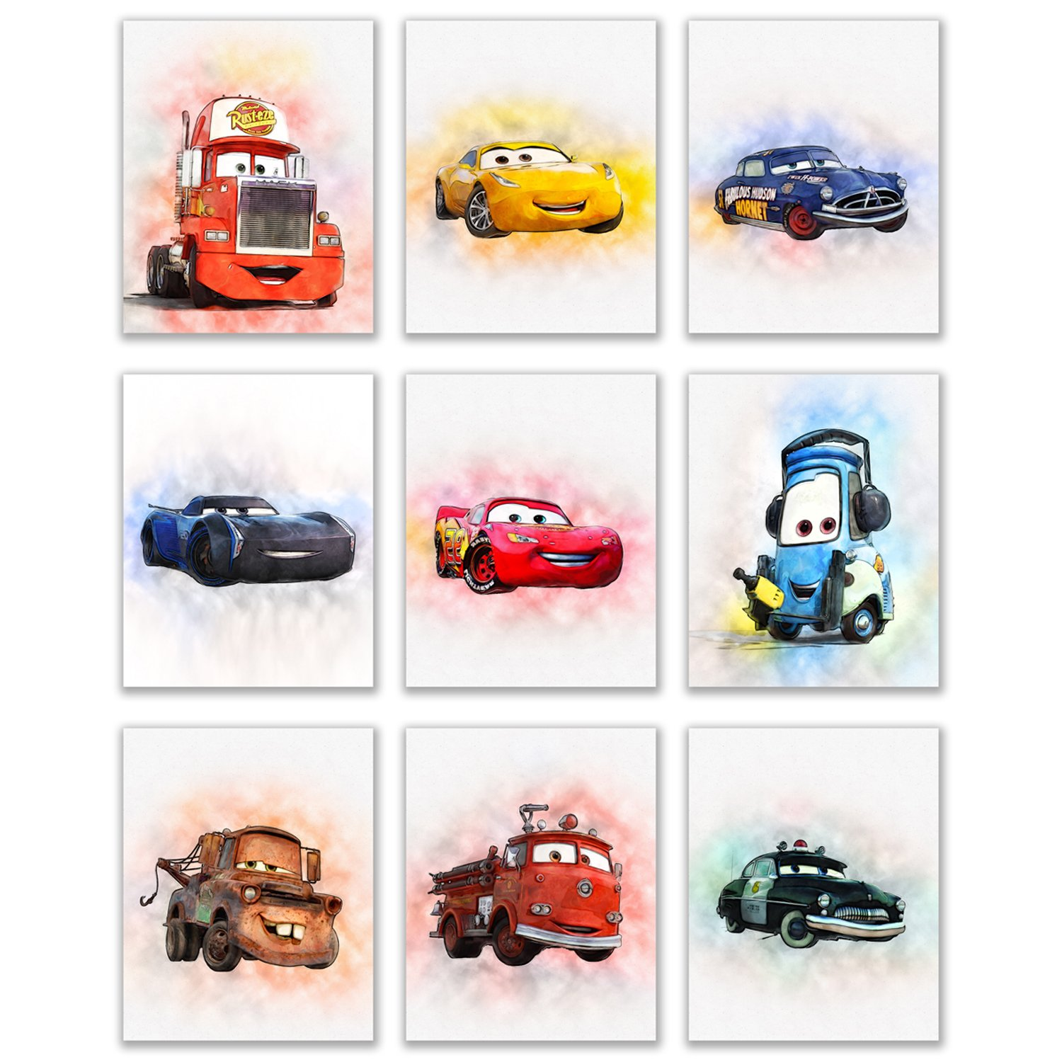 Cars Movie Poster Prints - Set of 9 (8 inches x 10 inches) Watercolor Photos - Lightning McQueen Tow Mater Doc Hudson Jackson Storm Cruz Ramirez by BigWig Prints