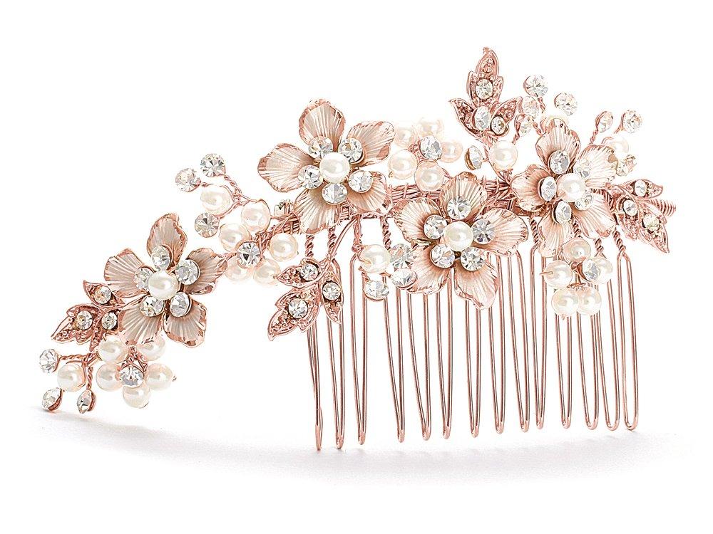 Mariell Handmade Brushed Rose Gold and Ivory Pearl Wedding Comb - Crystal Jeweled Bridal Hair Accessory