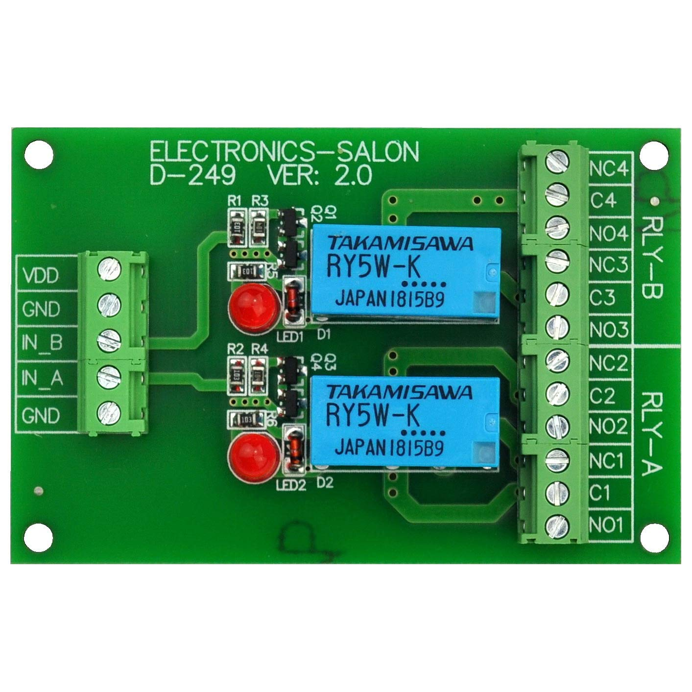 Electronics Salon 2 Dpdt Signal Relay Module Board Dc 5v Version With Arduino Circuit On To Ac Schematic For Raspberry Pi 8051 Pic Industrial Scientific