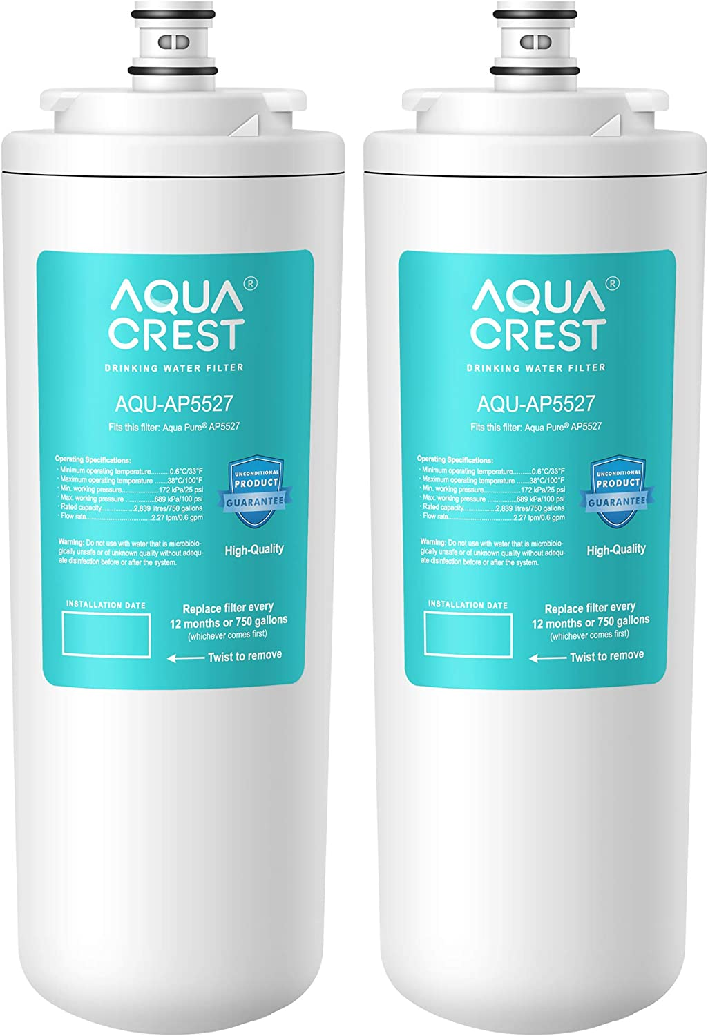 AQUACREST AP5527 Reverse Osmosis Pre and Post Water Filter Cartridge, Compatible with Aqua-Pure AP5527, 5598101, AP-RO5500, APRO5500 Reverse Osmosis System (1 Set)