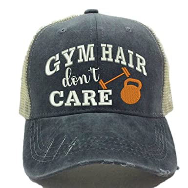 d899d9ca52a21 Custom Hat For Women Trucker Hat Gym Hair Don t Care Fitness Workout ...