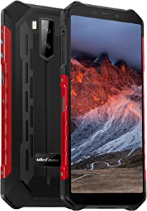 4G Rugged Phones Ulefone Armor X5, Global Bands Dual SIM, 13MP + 2MP Dual Waterproof Cameras, 5.5 Inch HD+ Display, Android 9.0 3GB + 32GB, 5000mAh Big Battery, Dustproof, Compass, NFC, OTG, GPS -Red