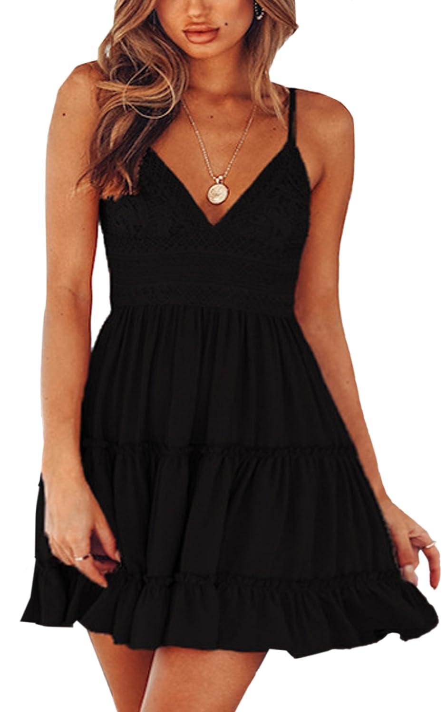 22533b4d4e7 ECOWISH Womens V-Neck Spaghetti Strap Bowknot Backless Sleeveless Lace Mini  Swing Skater Dress at Amazon Women s Clothing store
