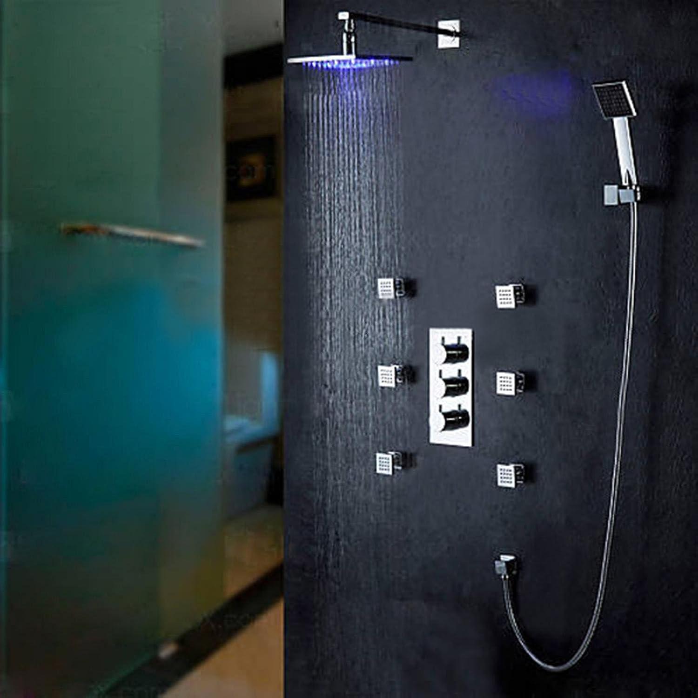 FEN LED shower shower faucet concealed shower shower set LED temperature control shower hot and cold copper