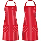 Syntus 2 Pack Adjustable Bib Apron with 3 Pockets Cooking Kitchen Aprons for BBQ Drawing, Women Men Chef, Red/White…