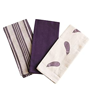 Kitchen Dish Towel by F.E.D, Extra Large Tea Towel in 3 Colours, 100% Professional Cotton, Machine Washable Fabric (Set/Pack of 3) (Purple Eggplant)