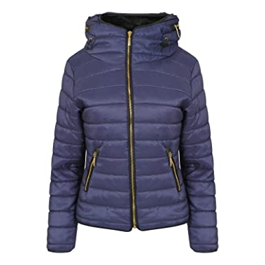 1bb5a35af3c Image Unavailable. Image not available for. Colour: FLIRTY WARDROBE Womens  Ladies Quilted Padded Coat Bubble Puffer Jacket Fur Collar Hooded Thick [ Navy