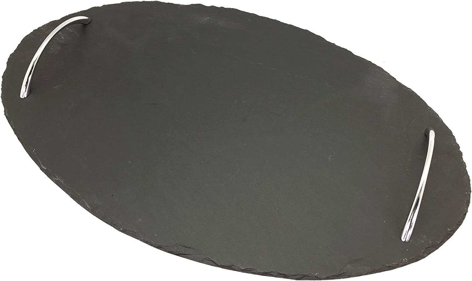 """Creative Home Natural Slate Stone 15-3/4"""" W Oval Serving Tray with Zinc Alloy Handles"""